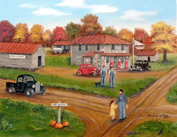Cat Square Folk Art Print North Carolina Old Store Car Country Landscape Black Truck 1940s 1930s Autumn Pumpkin Man Yellow Dress Arie Taylor