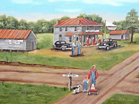 Landscape Folk Art Cat Square road old store red wagon dog boy man 1930s