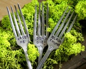 Antique Silverware Fork Garden Marker Black Thumb, Water Me, Dont Die Plate Stake