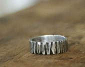 Sterling Silver Tree Bark Band Ring E0261