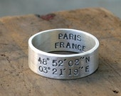 Latitude and Longitude Ring (E0206) // gifts for him // gifts for her// wedding ring // anniversary gifts