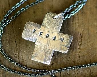 Swiss Cross Necklace Sterling Silver Modern Vegan (E0303)