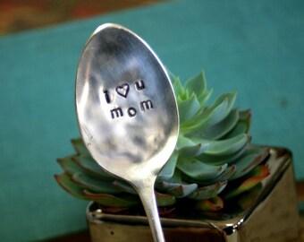 I Heart You Mom Stamped Garden Marker (E0200)
