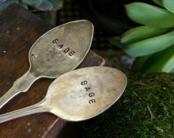 Sage Herb Vintage Silverware Garden Marker (E0248)
