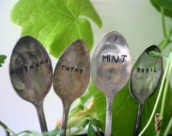 Vintage Silverware Garden Marker - Mint Basil Rosemary Thyme Set (E0327)