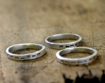 Personalized Sterling Silver Stamped Stacking Ring (E0243)