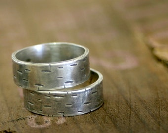 Birch Tree Wedding Ring Sterling Silver Band set of 2 (E0175)