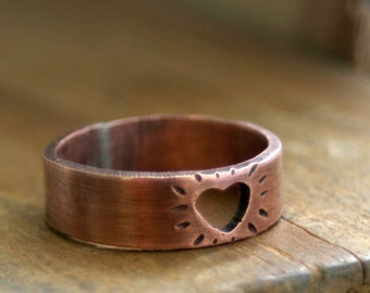 Heart Ring Cutout Copper Band (E0198)