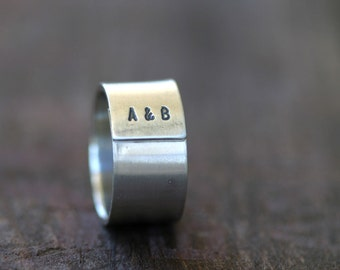 Personalized Initials Sterling Silver Band Ring Mens (E0235)