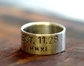 Personalized sterling silver ring (E0242)