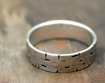 Birch Tree Bark Silver Band Ring (E0174)