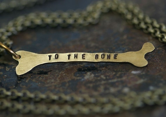 Brass Femur Bone Necklace for Halloween Personalized (E0311)