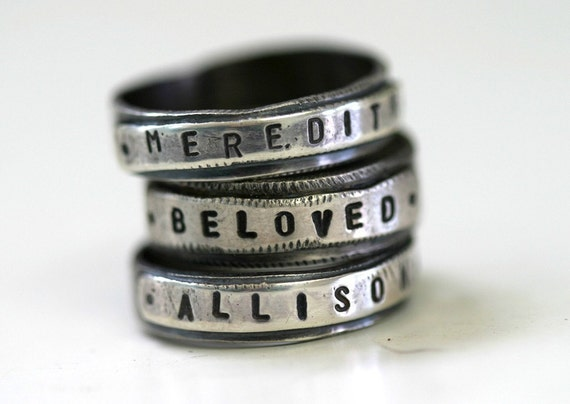Custom Stamped Personalized Name Band Ring Silver (E0189)