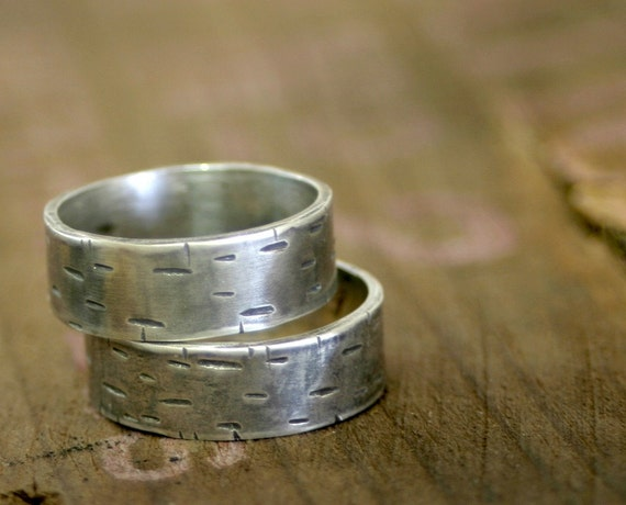 Birch Tree Wedding Ring Sterling Silver Band set of 2 (E0175)