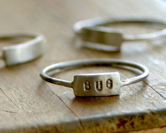 Custom Hand Stamped Silver Name Ring (E0185)