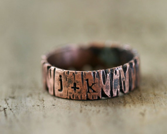 Custom Personalized Band Ring Tree Bark Redwood Tree (E0186)