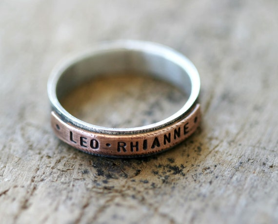 Copper and sterling silver personalized mixed metal ring (E0180)