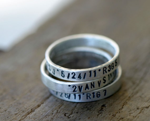 Personalized silver stamped stacking rings set of 3 (E0240)
