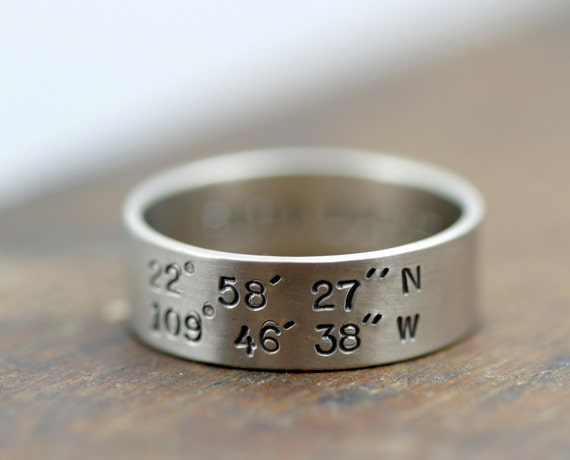 Gold Latitude and Longitude 14k Wedding Band (E0195)