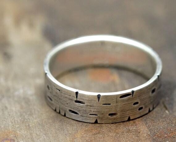Birch Tree Bark Silver Band Ring (E0174)