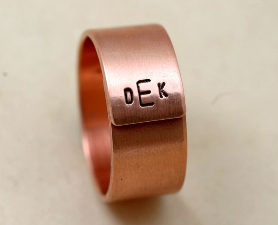 Mens wedding ring copper initials e0217 for Mens copper wedding rings