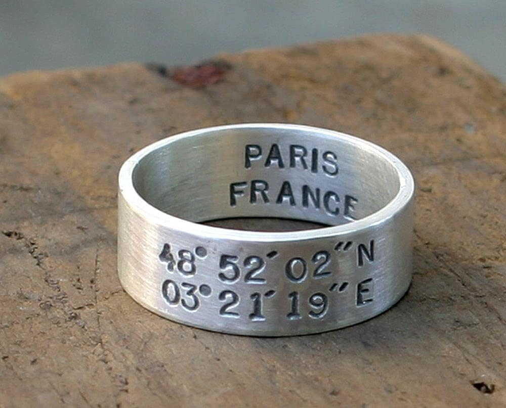 Latitude and Longitude Ring E0206 // gifts for him // gifts