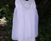 Wedding.vintage.Bridal..Slip dress..rehearsal dinner..lingerie..sheer..white..rose..bow..lace and chiffon