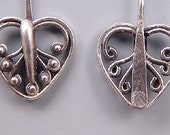 Bali Sterling Silver Heart Headpins B150 (2), Bali Headpins, Sterling Silver Head Pins, Sterling Headpins, Fancy Headpins