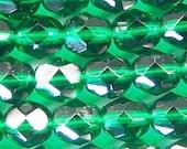 Czech Firepolish Beads 6mm Emerald Green 17480 Round Beads, Faceted Glass Beads, Green Beads, Transparent Beads Preciosa Jablonex