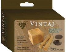 Vintaj Wood Dapping Block with 2 Dapping Punches 55128 Shape Metal Pieces, Dap Disks Jewelry Tool, Dapping Set, Dapping Punch, Metalsmithing
