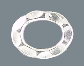 Karen Hill Tribe Silver Hammered Jump Rings T705 (3) 12mm Jumprings, Oval Jumprings, Oval Silver Jump Rings, Closed Jumprings,