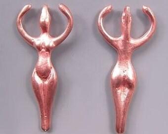Goddess Pendant Greek Cast Copper-Plated 33222 (2), Open Arm Goddess, Large Hole Goddess Pendant, Female Pendant, Copper Female