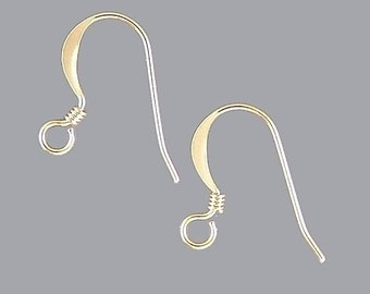 French Hook Earrings Gold-Plated 41057 (144) Fish Hook Earrings, Gold Ear Wires, Gold Earrings, Gold French Hook Ear Wires