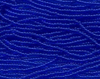 Czech Seed Beads 11/0 Transparent Sapphire Blue 31054 (6 strand hank) Glass Seed Beads, Precoisa Beads, Round Seed Beads, Rocaille Bead
