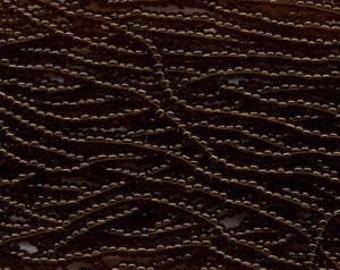 Czech Seed Beads 8/0 Transparent Dark Topaz 31378 (6 strand hank) Glass