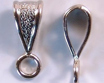 Small Bails Closed Loop Silvertone 42429 (24) Silver Color Bails, Necklace Bails, Textured Bails, Pendant Bail, Textured Bails, Silver Bails