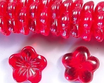 Czech Flower Beads 16mm Siam Ruby Red 17504 Transparent Red Flower Beads, Jablonex Glass Beads, Large Glass beads, Jewelry Beads