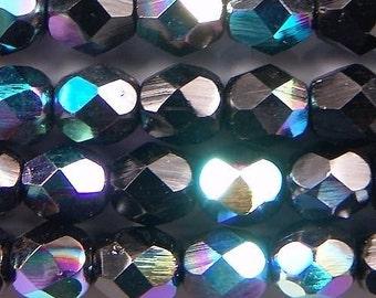 Czech Firepolish Beads 6mm Jet Black AB 17297 , Black Round Beads, Czech Glass Beads, Jablonex Glass Beads, Black Faceted Beads, 6mm Beads