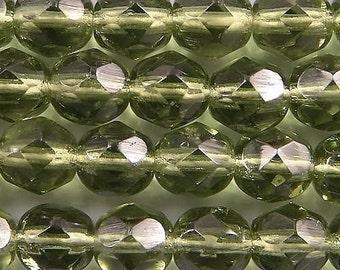 Czech Firepolish Beads 6mm Olive Green 17287   Round Beads, Faceted Beads, Fire Polish Bead, Jablonex Glass Bead, Small Bead, 6mm Czech Bead