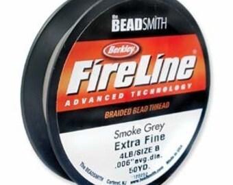 FireLine Braided Beading Thread Size B .006 Smoke Gray 41447  50yd Pre-Waxed Thread, Stretch Resistant Thread Beading Thread Beadwork Thread