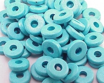 Greek Ceramic 8mm Disk Beads 2.6mm Hole 16000 Turquoise Blue Disc Beads, Narrow Beads, Spacer Beads, Large Hole Beads, Big Hole Beads