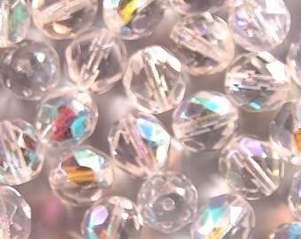 Czech Firepolish Beads 8mm Crystal Clear AB 17412 Round Beads, Faceted Beads, Clear Fire Polish Beads, Jablonex Glass Bead, 8mm Czech Bead
