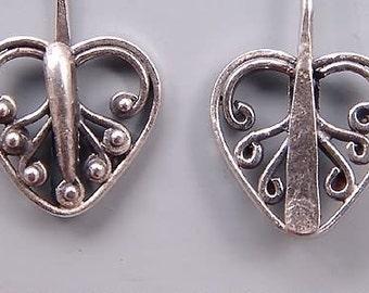 Bali Sterling Silver Heart Headpins B150 (2), Bali Headpins, Sterling Silver Head Pins, Sterling Headpins, Fancy Headpins