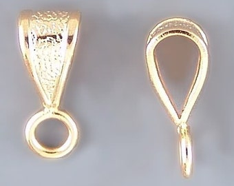 Small Closed Loop Bail Gold-Plated 42987 (24) Gold Bail, Gold Plated Bails, Small Bails, Jewelry Bails, Pendant Bails, Metal Bails