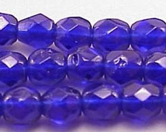 Czech Firepolish Beads 4mm Cobalt Blue 17093 Round Beads, Faceted Beads, Fire Polish Beads, Jablonex Glass Bead, Small Beads, 4mm Czech Bead