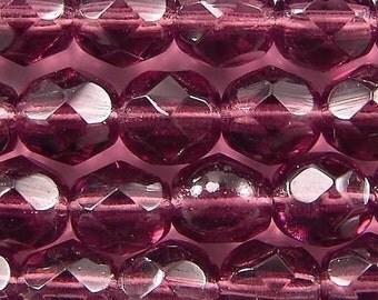 Czech Firepolish Beads 6mm Amethyst 17281 Purple Round Beads, Faceted Beads, Fire Polish Beads, Jablonex Glass Bead, 6mm Czech Bead