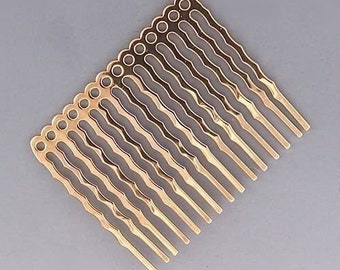 Hair Combs for Beading Gold-Plated 42952 (6) Gold Hair Combs, Hair Comb Blanks, Wedding Combs, Hair Accessories, Gold Plated Hair Combs