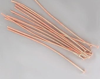 2 inch 24ga Copper-Plated Headpins 42940 (144) 24 gauge Copper Head Pins, Jewelry Findings, Head Pin Wire, Thin Head Pins, Long Head Pins