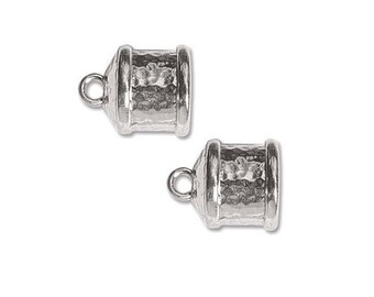 Large Endcaps 9mmID Silver Plated 41742 (2)  for Cording or Kumihimo Bright and Shiny