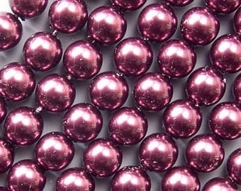 Czech Glass Pearl Beads 8mm Eggplant 17625, Purple Pearls, 8mm Round Beads, 8mm Pearl Beads, Preciosa Beads, Czech Pearl Beads, Czech Beads